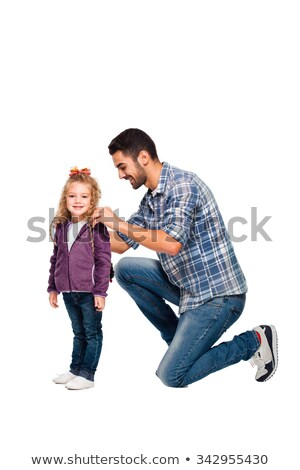 father preparing his daughter for school background Stock photo © SArts