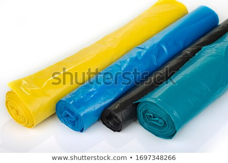 Stock photo: roll of plastic garbage bags isolated on white