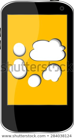 Touchscreen Smart Phone With Social Word Cloud Isolated Stock fotó © fotoscool