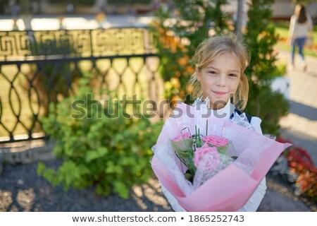kind · lopen · hek · aanbiddelijk · blond · vergadering - stockfoto © velkol