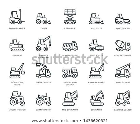 ikon · építkezés · buldózer · vékony · vonal · terv - stock fotó © zzve
