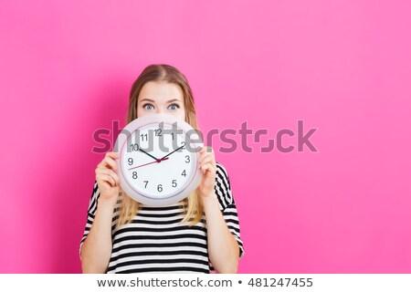 woman with a clock Stock photo © Kurhan