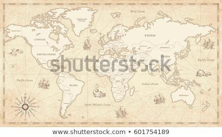 Velho mapa américa papel textura globo fundo Foto stock © anbuch