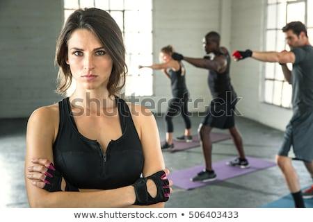 boxing aerobox man portrait in fitness gym stock photo © lunamarina