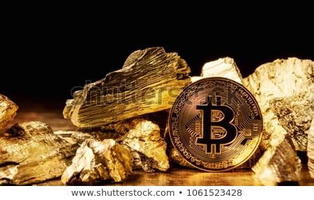 Szilárd kő erős arany érmék üzlet Stock fotó © compuinfoto