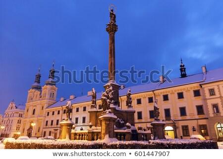 Stock photo: Plague column on Main Square in Hradec Kralove