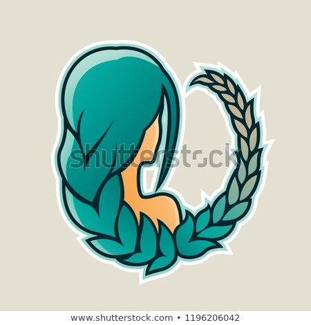 girl with green hair and wheat icon vector illustration stock photo © cidepix