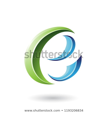 Green Glossy Crescent Shape Letter E Vector Illustration Stock photo © cidepix
