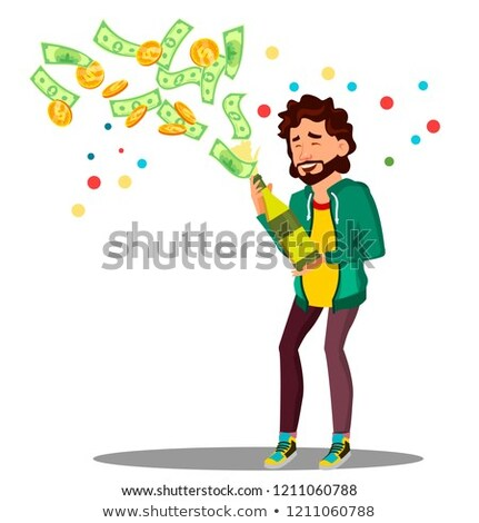 businessman opening a bottle with money flying out vector isolated illustration stock photo © pikepicture