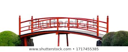 wooden bridge on white background stock photo © colematt