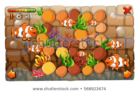 Game template with clownfish swimming in background Stock photo © colematt
