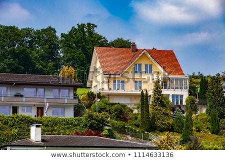 町 湖 表示 スイス 家 建物 ストックフォト © boggy
