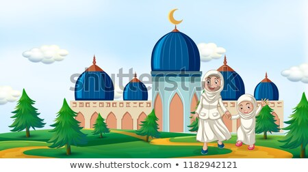 Familia feliz mezquita ilustración familia árbol nino Foto stock © colematt