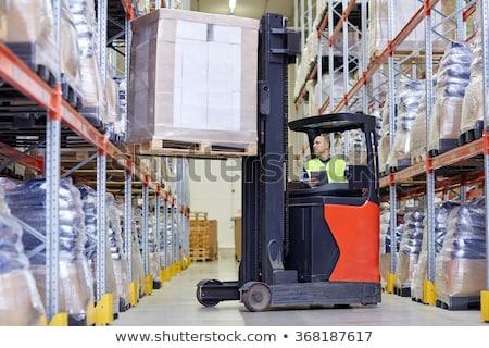 Stockfoto: Heftruck · magazijn · business · vracht · man
