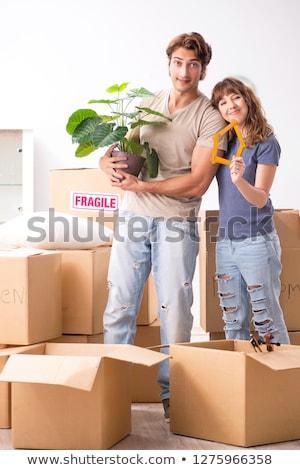 pár · kulcs · dobozok · mozog · új · otthon · otthon - stock fotó © elnur