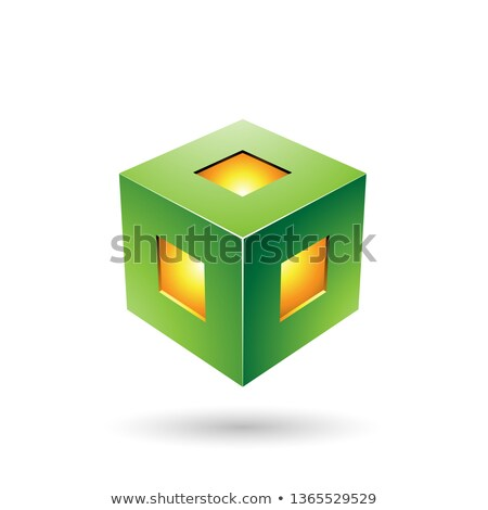 Green Bold Lantern Cube Vector Illustration Stock photo © cidepix