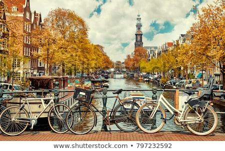 Сток-фото: канал · Амстердам · тюльпаны · Нидерланды · небе · воды