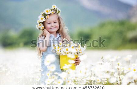 かわいい · 笑みを浮かべて · 女の子 · 花 · 花輪 · 草原 - ストックフォト © ElenaBatkova