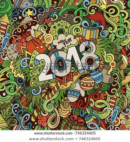 Rajz firkák új év illusztráció karácsony vicces Stock fotó © balabolka