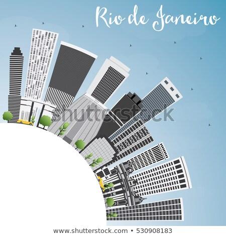 Rio de Janeiro linha do horizonte cinza edifícios blue sky copiar Foto stock © ShustrikS