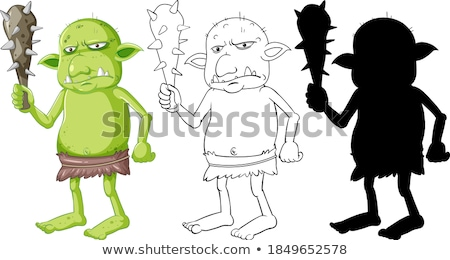Goblin or troll holding hunting tool in color and outline and si Stock photo © bluering
