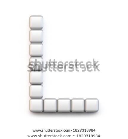Blanche cube pixel police lettre l 3D Photo stock © djmilic