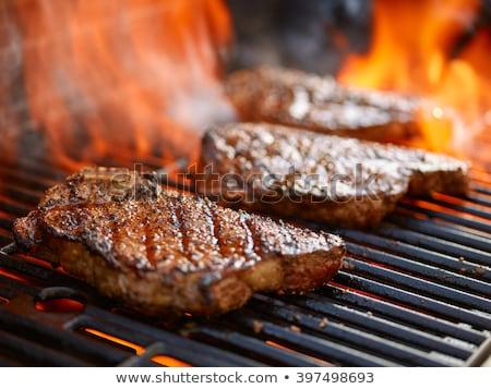 Steak BBQ marinált frissen tűz absztrakt Stock fotó © franky242