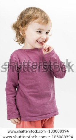 abashed young girl in light grey background Stock photo © gewoldi