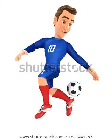 3D · fehér · férfi · futballabda · izolált · render · fehér - stock fotó © 3dmask