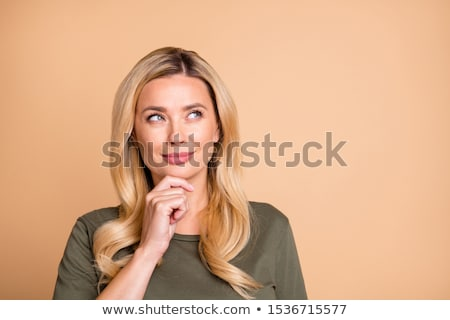 Stockfoto: Peinzend · stijlvol · mooie · vrouw · aanraken · gezicht