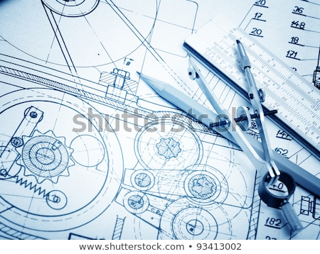 industrial drawing detail and several drawing tools stock photo © netkov1