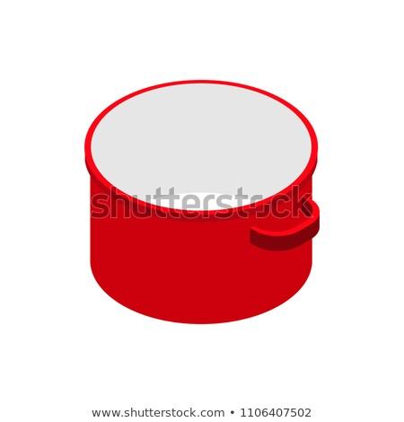 красный открытых пусто кастрюля изолированный изометрический Сток-фото © MaryValery