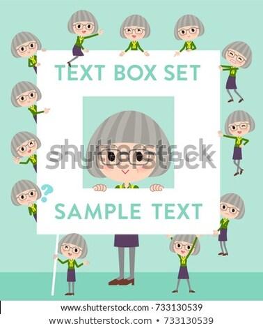 Stock photo: green shirt old women_text box