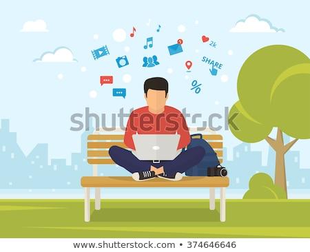 Freelance man vergadering bank park laptop Stockfoto © pikepicture