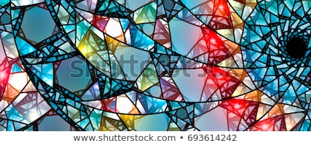 Janela mosaico vidro ilustração casa fundo Foto stock © colematt