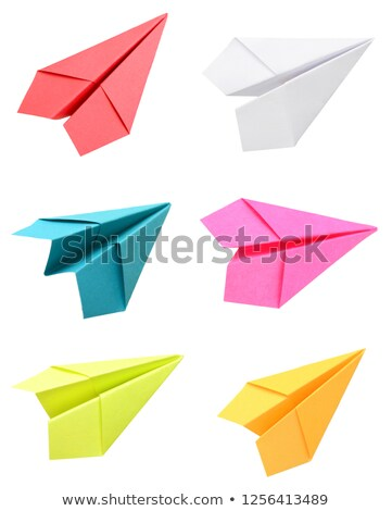 paper airplanes in six colors stock photo © colematt
