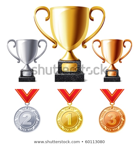 set of golden silver and bronze cups isolated on white background vector cartoon close up illustra stock photo © lady-luck