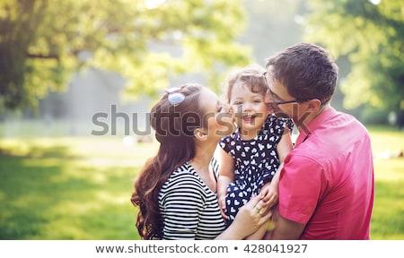 Ojciec matka córka baby lata łące Zdjęcia stock © Lopolo