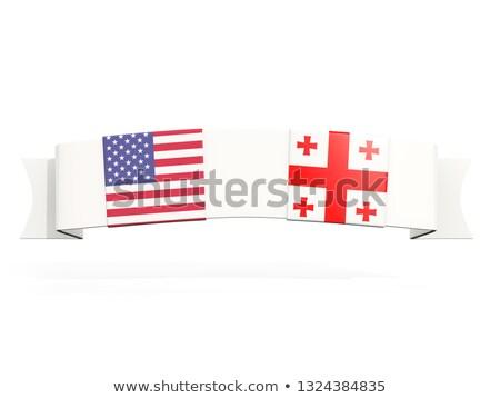 Bannière deux carré drapeaux États-Unis Géorgie Photo stock © MikhailMishchenko
