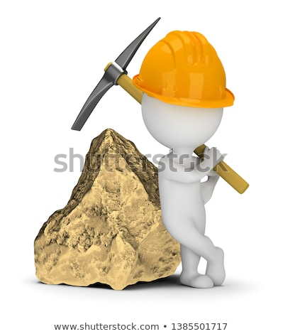3d small people   miner next to a big gold nugget stock photo © anatolym