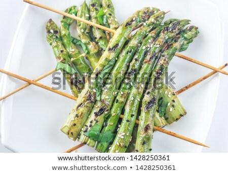 Gegrild asperges plaat papier voedsel Stockfoto © Alex9500