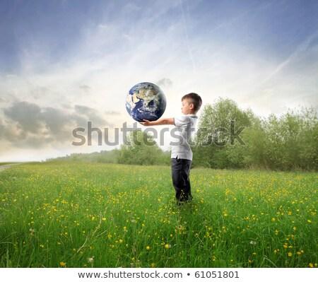 fiú · tart · földgömb · Föld · illusztráció · felhők - stock fotó © colematt