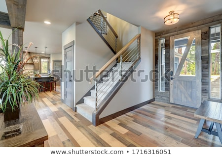 wooden staircase in the building modern home in Sunlight Stock photo © Freedomz