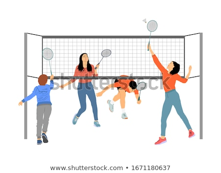 people play with racket and shuttlecock vector stock photo © robuart