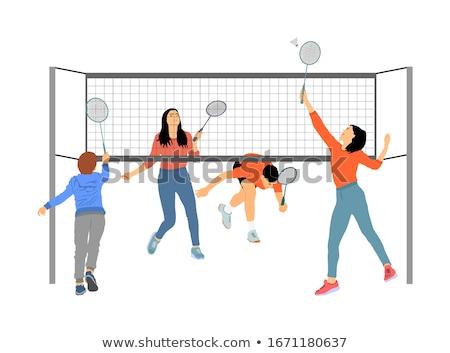 Mensen spelen racket vector man vrouw Stockfoto © robuart