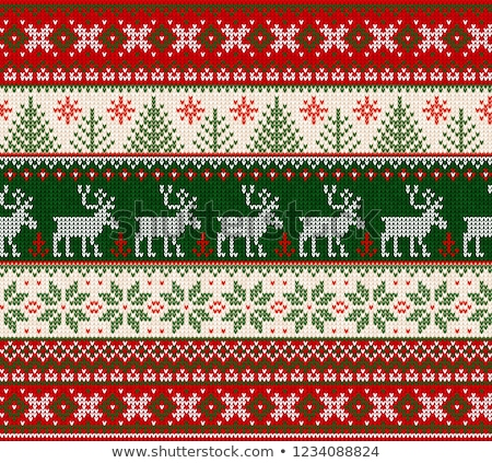 Knitted Deer Seamless Pattern in Red Color. Stock photo © ShustrikS