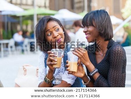 画像 幸せ アフリカ系アメリカ人 女性の笑顔 飲料 ソーダ ストックフォト © deandrobot