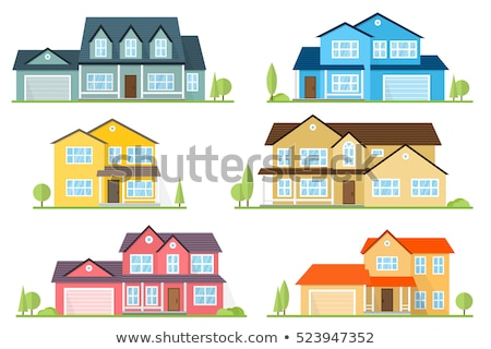 Cottage house vector illustration. Modern family villa house with green trees in the home garden Stock photo © robuart
