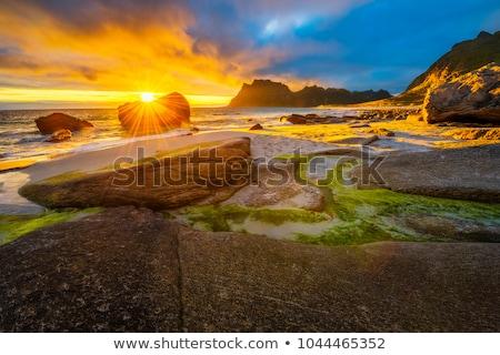 Zonsondergang zee kust oude ruines landschap Stockfoto © Kayco