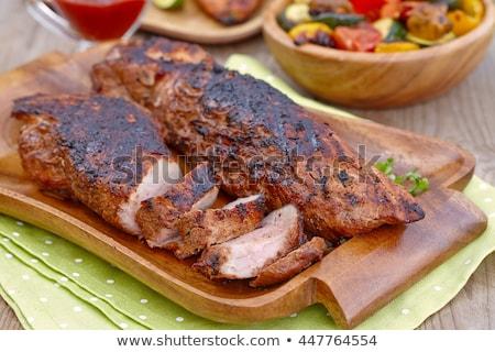 grillezett · disznóhús · felszolgált · rizs · citrom · étel - stock fotó © digifoodstock